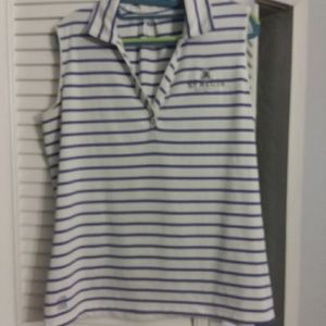 Kate Lord golf shirt...pretty violet blue stripes